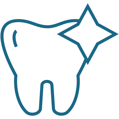 Tooth with a sparkle to represent general dentistry from this dentist in Peoria, IL